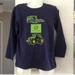 Winter Navy blue John Deere Tractor  top 100% cotton Sizes 1 to 7 available