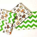 Set of 3 Flannel Baby Blankets - Wise Woodland Animals and Chevron