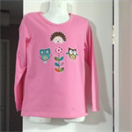 Winter Pink cotton top with Woodland creatures owl hedgehog appliqué size1 to 7