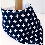 bandanna bib CROSSES monochrome organic cotton & bamboo backed super absorbent.