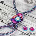 Slider - Cluster Button Pendant & Earrings - Shades of Pink Teal Purple - Long