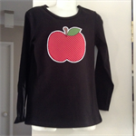 Winter black cotton girls top with polka dot Apple applique sizes 1 to 7