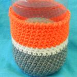 Bottle Cosy - Grey, White and Orange