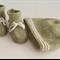 Hand Knit, 0-3m, Wool, Green / Cream, Baby Booties & Beanie Hat