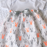 Girls Easter Party Dress Bunny Rabbit Print Onesie Dress