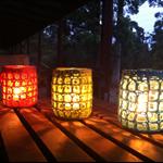 Jar cosies set of 3 upcycled yarn crochet jar cosy boho free postage