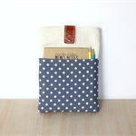 iPad Sleeve / Cover / Case - Blue & White Dots, Leather Snap Closure
