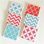 Coral & Mint Coasters - 6 Ceramic Tile Drink Coasters Chevron Quatrefoil Circles
