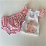 Easter set , frilly sleeve singlet and nappy cover.