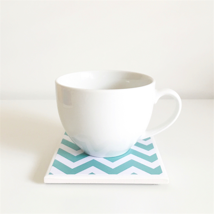 Coral Mint Coasters 6 Ceramic Tile Drink Coasters