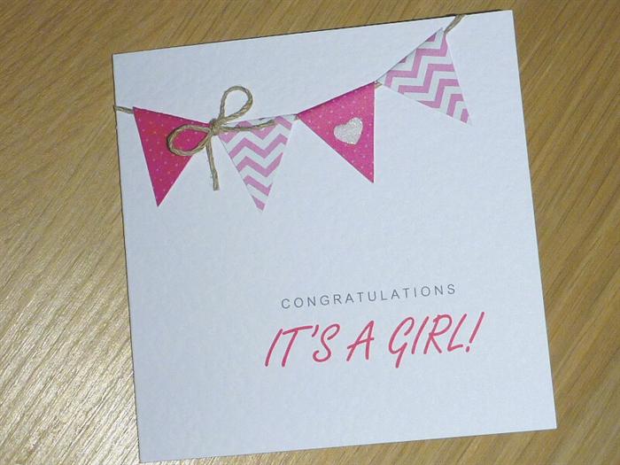 3590b0a9a It s a Girl - congratulations card - handmade