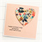 PERSONALISED Mother's Day card peach blooms paper heart