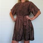 Ladies Dress, Brown geo,  size 14