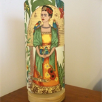 Frida's Garden Wooden Lamp - Frida Kahlo print fabric shade on wooden disc base
