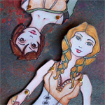Paper Doll Set of 2 Fantasy and Steam Punk Inspired Colour Art Dolls