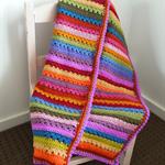 Crochet Rainbow Blanket,  Pram, Baby Blanket.