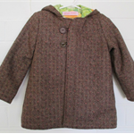 Wool blend jacket with hood and vintage lining. Size 2. Toddler.