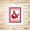 Printable Ampersand Wall Art - Red - Digital File