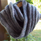 double mobius scarf. Wool, soy and bamboo fibres.  Pink, grey and mauve
