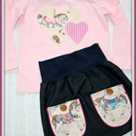 Size 2 Vintage Horse skirt and top set OOAK