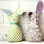 easter bunny | softie | baby toy | polka dot green