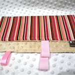 tactile sensory blanket with ribbons around edge - pink stripe