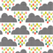Fitted Cot Sheet in Cloud & Rain - 100% Cotton Designer Nursery Sheets