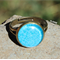 Bronze Dome Ring Adjustable Blue Flowers