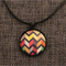 Multicolour Chevron  ~ Black  Pendant Necklace