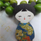 Blue and Green Japanese Doll Brooch