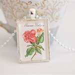 Minnie Watson rose, postage stamp pendant