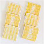 Pineapple Coasters - 6 Ceramic Tile Drink Coasters Yellow Triangles Pineapples