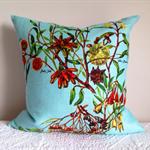 Cushion cover Australian wildflowers vintage linen