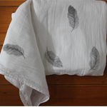 Feather Hand Stamped Organic Muslin Baby Blanket | Baby Wrap | Swaddles