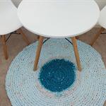 """Round Floor Rag Rug in """"Aqua Luxe"""""""