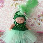 """5 inch Berenguer Baby """"Green Ballet Girl"""" Crochet Outfit"""
