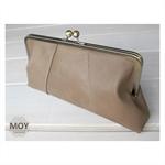 Mocha leather clasp clutch