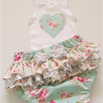 Baby Ruffle Nappy Pants / Cover and Singlet Set