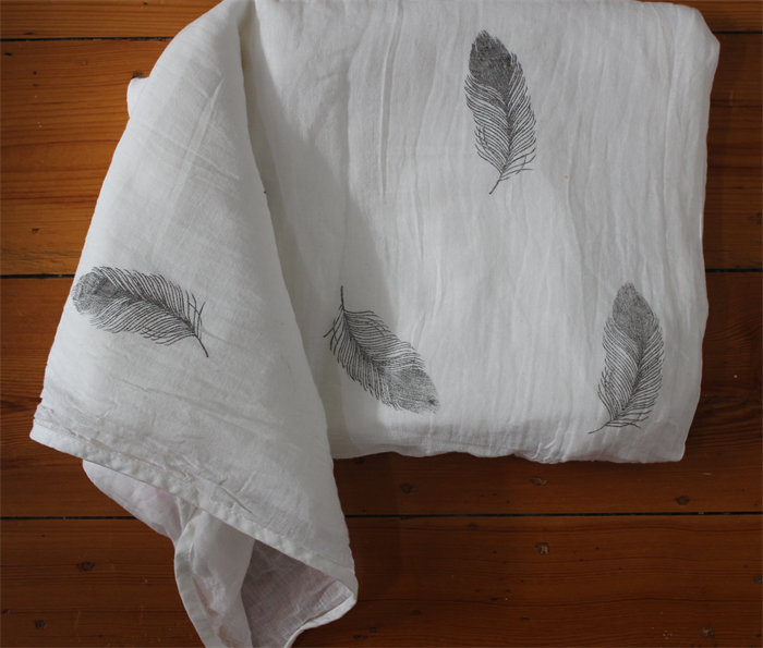 Feather Hand Stamped Organic Muslin Baby Blanket Baby Wrap