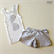 Grey and White Speckled Shorts Set Size 0000