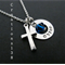 Silver Cross Necklace - Personalized name and crystal necklace