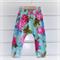 Boho Harem Pants - Bright Blue Floral