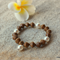 Swarovski White pearls, Wood, Sterling Silver, stretch bracelet