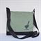 Messenger bag black canvas with green flap featuring vinyl bird