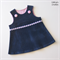 Navy Corduroy Pinafore/Dress with Daisy Trim
