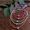 Coloured cord sterling silver puff love heart bracelet
