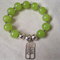 Green Jade and Sterling Silver Plate Bracelet