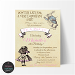 Vintage Alice in Wonderland Tea Party Birthday Invitationon, Print your own