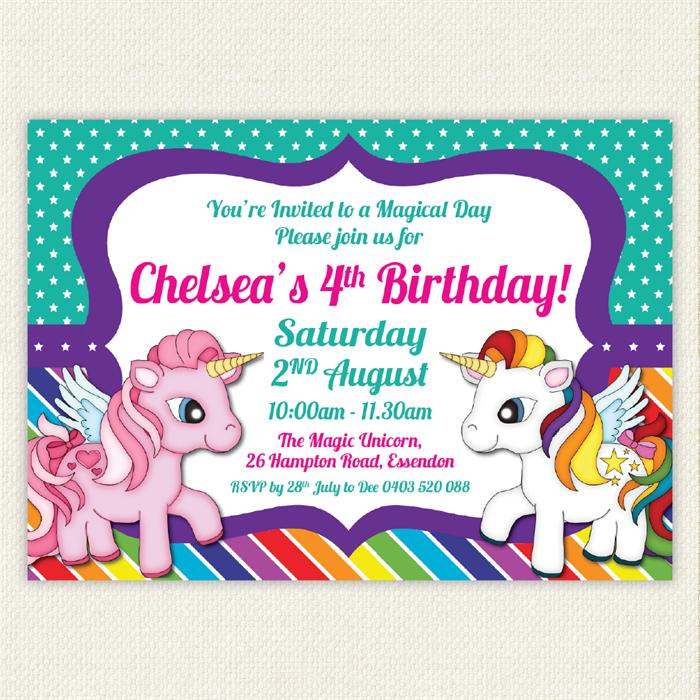 Rainbow Unicorn Stars Birthday Invitation Printable Pony