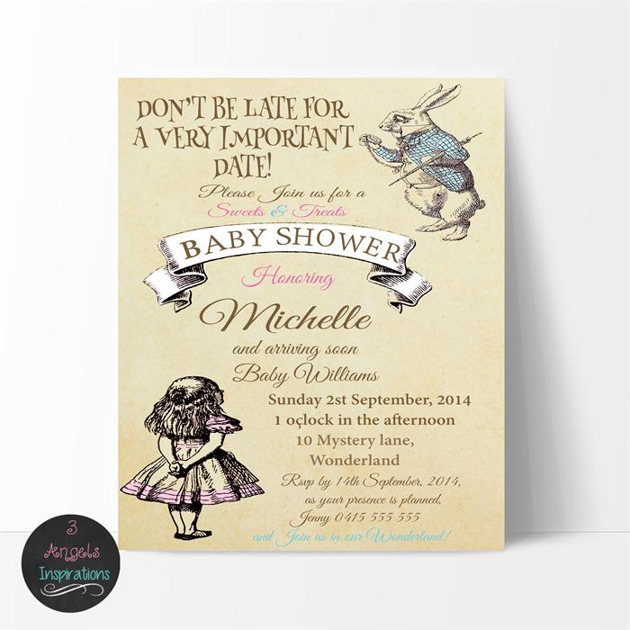 vintage alice in wonderland baby shower invitation, print your own, Baby shower